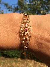 """Victorian 14K Yellow Gold Ruby Seed Pearl Hinged Bangle Bracelet 6.5"""""""