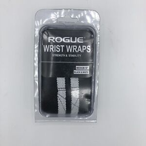 "Rogue Fitness Wrist Wraps Medium 18"" Black/White Power Weightlifting Crossfit"