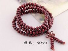6mm Tibet Buddhism 108 Red wood Mala Necklace