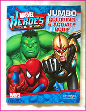 MARVEL HEROES - JUMBO COLOURING IN & ACTIVITY Puzzles Colour-in BOOK Color - New