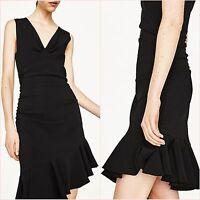 Zara Black V Neck Asymmetric Frills Hem Dress Size M L UK 10 12 US 6 8 Blogger ❤