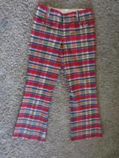 Vintage 1970s Madras Plaid Hip Huggers Bell Bottom Pants Disco Light Cotton S