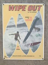 Vintage Surf Guitar Dick Dale The Surfaris Wipe Out Surfboard Poster Metal Sign