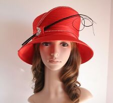 NEW Church Derby Wedding Cloche Satin & Rhinestone & Feather Rods Hat Red