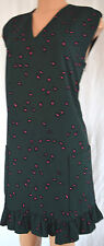 MARNI GREEN WITH PINK LEAVES VISCOSE BOTTOM RUFFLE DRESS SIZE 46