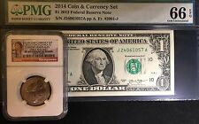 2014 Coin & Currency set FRN 66EPQ Error Note And SP69 Enhanced Sacajawea