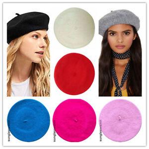 Women Black French Beret Plain Red Hat Mustard Cap Beanie Spring Fashion Fancy