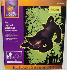 6' Gemmy Airblown Animated Head Turning Black Cat Halloween Inflatable Yard Prop