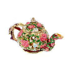 Teapot Flower Crystal Bejeweled figurin Jewelry Box Trinket Collect Xmas Gift,US