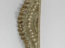 ATTRACTIVE INDIAN GOLD WAVY TRIM WITH PEARLS AND CRYSTALS TRIM/LACE-1 Metre