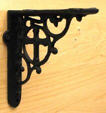 CAST IRON- CROSS Bracket  Set Of 2   Wall Shelf Brace Rustic Brown