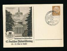 Sonder-Stempel 1938 Mannheim Tag der Briefmarke auf 3 Pfg. Ganzsachenkarte  (T4)
