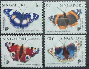 SINGAPORE 1999 JOINT ISSUE WITH SWEDEN BUTTERFLIES SG 999 - 1002 MNH OG