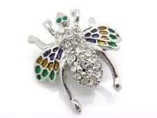 New Clear Bumble Bee Crystal Pin Enamel Wings Brooch Women New