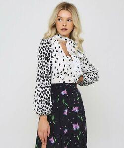 Rixo Moss Silk Blouse Top in Leopard - Size S RRP $350