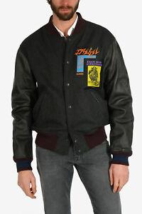 DIESEL men Jackets Sz Xl Grey Wool Blend Bomber Baseball Jacket Varsity Gray ...