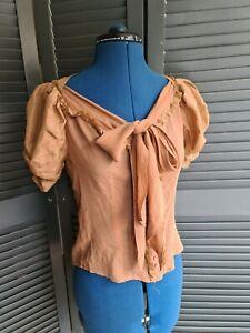 All Saints Blouse, Bronze, 100% Silk, Sheer, Size 8