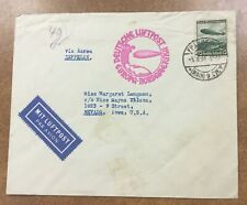1936 Germany Flown Hindenburg Zeppelin Cover to Iowa North America Flight
