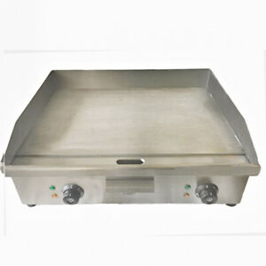 Davlex Large Commercial Electric Griddle Steel Hotplate, 60cm Twin Double Grill