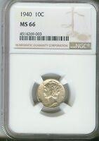 1940 10C Mercury Dime NGC MS66  4514269-003