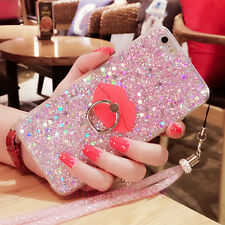Cute Bling Sparkle Glitter Soft Gel Phone Case Cover & Ring Holder Stand & Strap