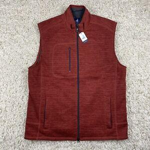 NWT Johnnie-O Tahoe Fleece Autumn Two Way Full Zip Mock Neck Vest Men's Large