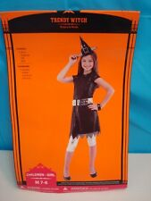 GIRLS HALLOWEEN COSTUME TRENDY WITCH COMPLETE SIZE 7/8 DRESS LEGGINGS HAT BELT