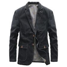 Men's Denim Blazer Casual Suit Jacket Distressed Cotton Jeans Coat Outwear Slim
