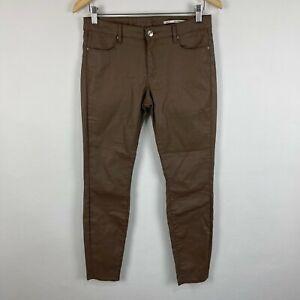 Zara Womens Pants US 8 AU 12 Brown Zip Closure Slim Mid Rise
