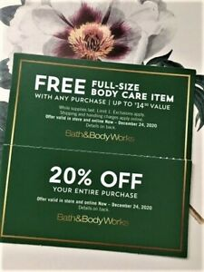 Bath and Body Works Coupon 20% Off Entire Purchase & Body Care Item 12/24/20 Exp