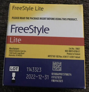 FREESTYLE LITE BLOOD GLUCOSE TEST strips--Expiration 12-31-2022 100 Count