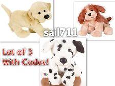 Webkinz Ganz Lot 3 Cocker Spaniel Yellow Lab Dalmatian Dog Pup *New Sealed Code*