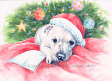 Staffordshire Bull Terrier Dog, Christmas cards pack of 10 by Paul Doyle. C551X