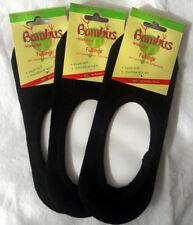 3 Paar Damen Füßlinge aus Bambus mit rutschfestem Silikon Pad schwarz 35 bis 42