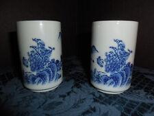 VINTAGE JAPANESE blue/white SMALL DRINKING GLASSES NICE DETAIL SET OF 2  EUC