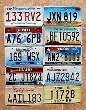 10 US States MA UT ND KY ID AZ CA TX IN WA Bulk Set Lot Graphic License Plates