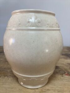 Large Vintage George Clews Ivory Pottery Vase Classic Chic