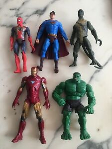 LOT 5 FIGURINES MARVEL SPIDER MAN HULK IRON MAN 20 CM LE LEZARD SUPERMAN COMICS