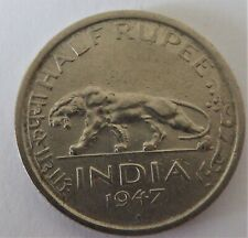 INDIA – British Empire – 1/2 Rupee 1947 – GEORGE VI Emperor – Almost Extra Fine