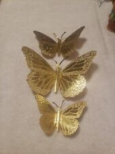 Vintage 3 Homco Butterflies Wall Decor Gold Tone Metal Home Interiors monarch