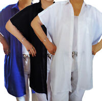UK Plus Size 18 - 24 Ladies Linen Shirts Long length Short Sleeved Blouse Cotton