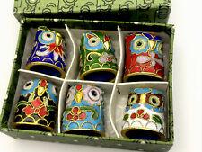 More details for vintage boxed lot enamel cloisonne owl thimbles bird collectable