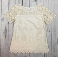 Women's Merona Ivory Embroidered Bohemian Peasant Tunic Top-Size Small