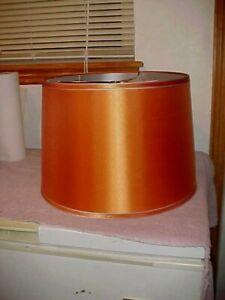 "NEW Satin Burnt Orange Drum Lamp Shade 14""  x 14"" Top, 12"" Tall, Silver Lining"