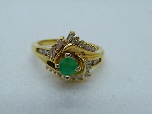 Ladies 14ct Gold Fancy Emerald & 15pt Diamond Swirl Ring - Size M + Appraisal