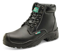 Click Water Resistant Black Leather Work Safety Boots Steel Toe Cap Mid Sole S3