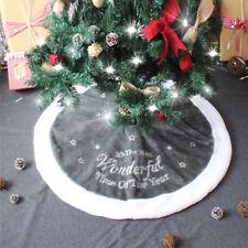 90cm Luxury Grey Fur Christmas Tree Skirt Festive Home Xmas Snowflake Decor UK