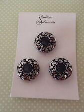 3 Vintage Glass Buttons Black Schwanda Card craft sew jewelry scrapbo knit quilt