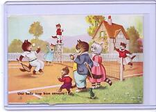 VINTAGE FRENCH DRESSED CATS PLAYING TENNIS #2250 POSTCARD M.D. PARIS