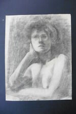 FRENCH SCHOOL 19thC - STUDY FEMALE NUDE - FINE CHARCOAL DRAWING